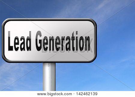 Lead generation, internet marketing for online market and commerce sales, road sign billboard. 3D illustration