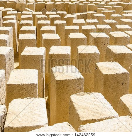 A multidute of tufa blocks in a stone quarry