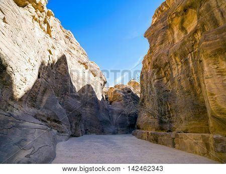 Siq canyon in Hidden city of Petra, Jordan