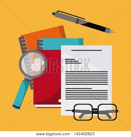 document pen lupe glasses book notebook icon. Company rosource design. colorful and flat illustration