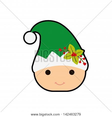 elf hat cartoon merry christmas celebration icon. Isolated and flat illustration, vector