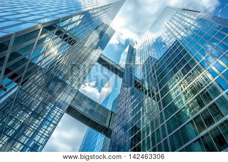 Munich, Germany- AUGUST 7, 2016: Details of skyscraper architecture in Munich against the sky