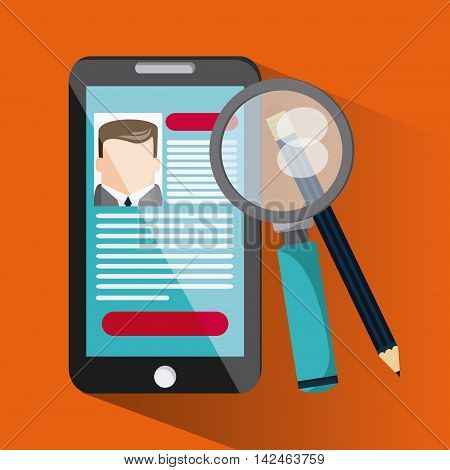 smartphone lupe pencil businessman cv document icon. Company rosource design. colorful and flat illustration