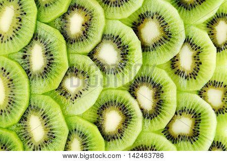 Sliced kiwi fruit close up for background