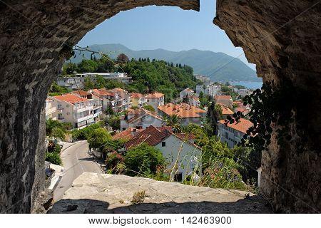 View town Herceg Novi from fortress Kanli Kula Montenegro