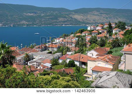 View of town Herceg Novi in Bay of Kotor Montenegro