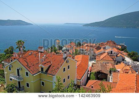 Top view of old town Herceg Novi Montenegro