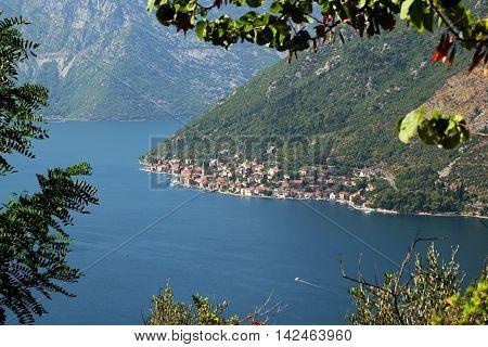 View of town Perast from mount Vrmac Bay of Kotor Montenegro