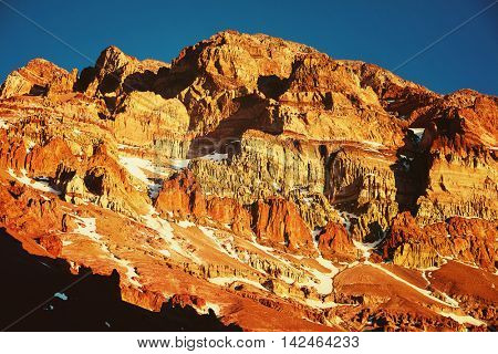 Aconcagua mountain in sunset lights
