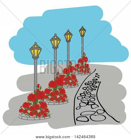 Lamppost alley. flowerbed with flowers in the background. illustration
