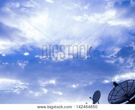 Big Satellite Dish On Blue Sky
