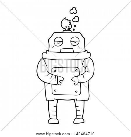 freehand drawn black and white cartoon broken robot
