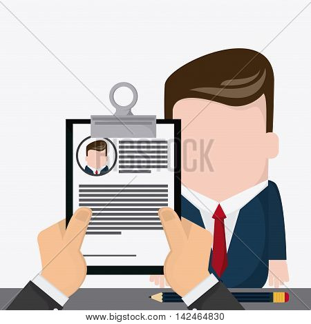 businessman document pencil necktie cartoon icon. Company rosource design. colorful and flat illustration