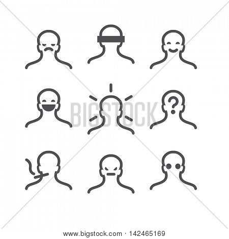 Human avatar thin line set: sad, incognito, happy, laughing, happy, confused, smoking, depressed, blind