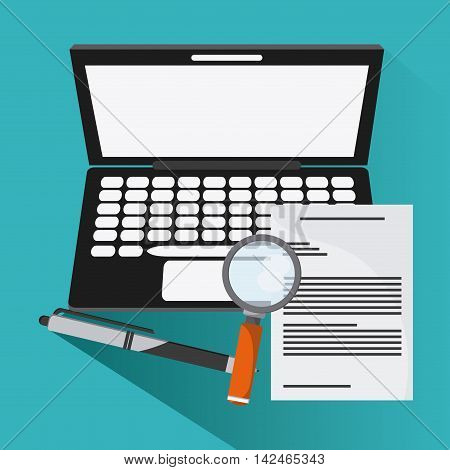 laptop document lupe pen icon. Company rosource design. colorful and flat illustration