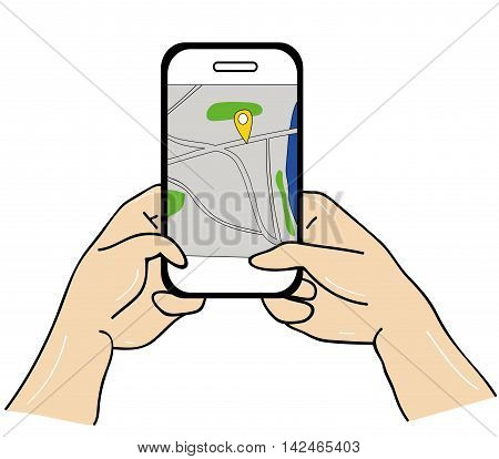 Hands holding smart phone with GPS navigation map of the city on the smartphone screen. Mobile navigation concept