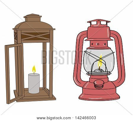kerosene lamp and a lamp with a candle. vector illustration