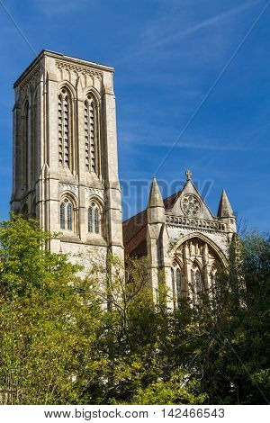 Tower of St Stephen's Anglican Church Bournemouth England United Kingdom.
