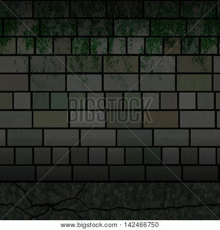 Dirty dark brick wall texture, 3D illustration