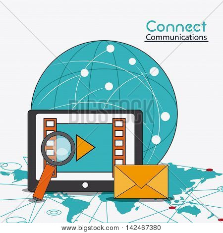 global envelope lupe movie tablet connect communications social network icon. colorful illustration