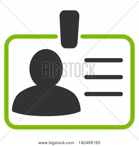 Personal Badge icon. Glyph style is bicolor flat iconic symbol with rounded angles, eco green and gray colors, white background.