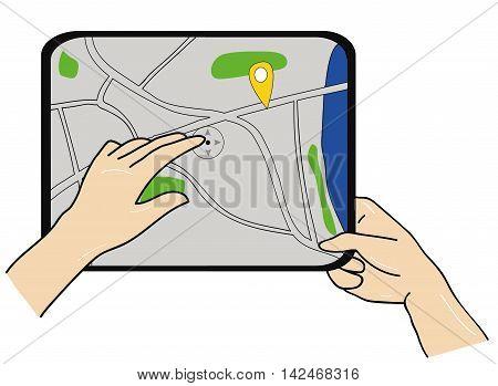 Cartoon hand holding a smartphone or tablet with the navigation application. Navigation concept. Sleek design. vector illustration.