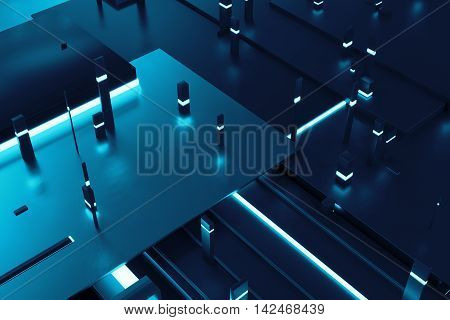 3D Rendering Background With Random Rectangle And Box Forms With Bright Luminance Elements