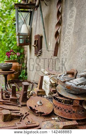 Old rusty iron materials used for decoration in garden