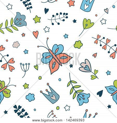 Seamless vector floral pattern. Spring illustration of cute butterfly and flower.Fairytale design for your love card, invitation, children or wedding DIY. Isolated illustration on white