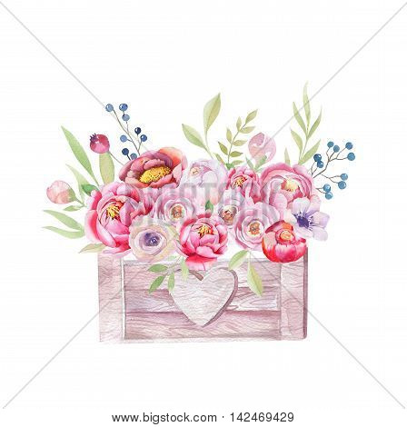 Watercolor flowers wooden box. Hand-drawn chic vintage garden rustic  illustration style. Isolated background  outdoor, decoration design.  Provence watercolour boho style, flower bouquet.
