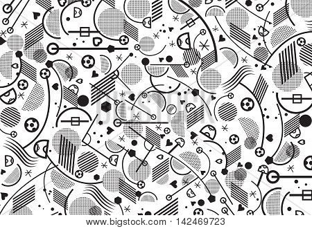 European Championship Soccer abstract pattern. Print background. Black and white football symbols and abstract lines and shapes. Sport Soccer vector illustration for Art, Print, Web design. Sport