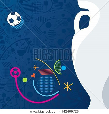 Abstract European Championship Soccer geometric blue background with soccer ball and lines, shapes. Pattern Vector illustration football, sport.