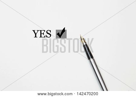 yes Word with fountain pen isolated on a white background