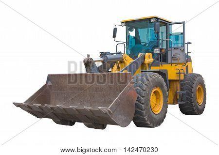 Loader dig bulldozer hard warking on sandpit