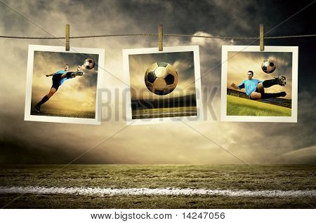 Photocards of football players on the outdoor field