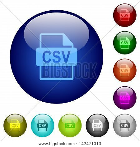 Set of color CSV file format glass web buttons.