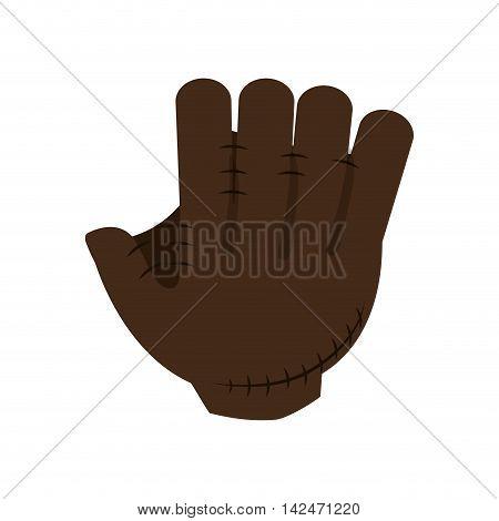 flat design baseball glove icon vector illustration