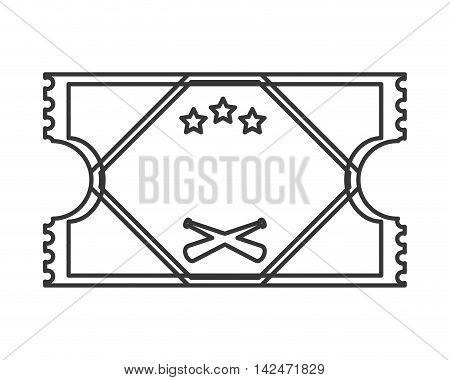 flat design baseball game ticket icon vector illustration
