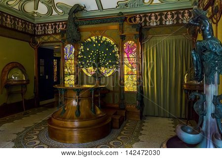 PARIS, FRANCE - MAY 13, 2015: This is installation interior jewelery shops 19th century in the Carnevalet Museum.
