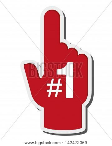 flat design foam finger icon vector illustration