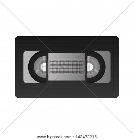 flat design single videocassette icon vector illustration