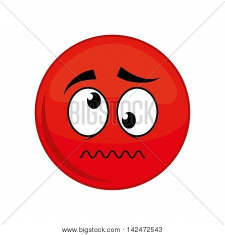 sphere crazy cartoon face expression icon. Isolated and flat illustration