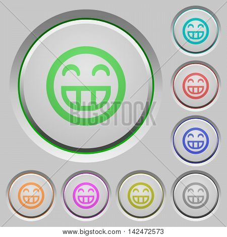 Set of color Laughing emoticon sunk push buttons.