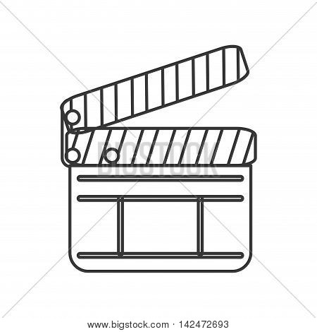 flat design single clapperboard icon vector illustration