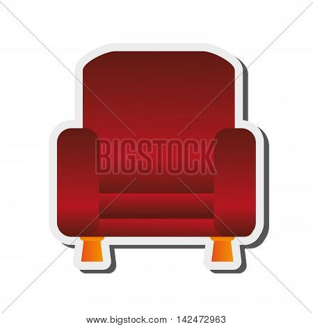 flat design sofa chair icon vector illustration