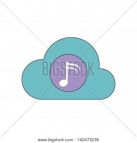music note cloud sound melody icon. Isolated and flat illustration