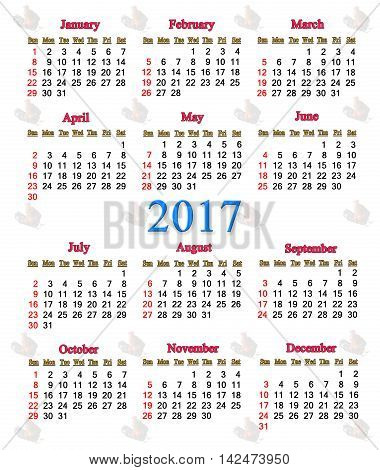 office calendar for 2017 with image of cock. Rooster is the symbol of next year