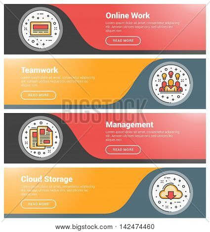 Flat Design Concept. Set Of Flat Line Business Website Banner Templates. Template For Wesite Headers