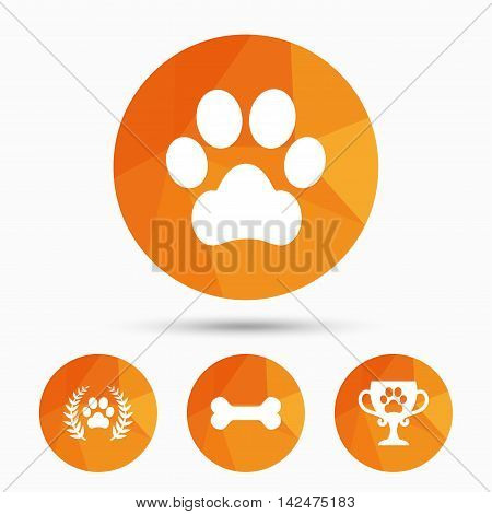 Pets icons. Dog paw sign. Winner laurel wreath and cup symbol. Pets food. Triangular low poly buttons with shadow. Vector