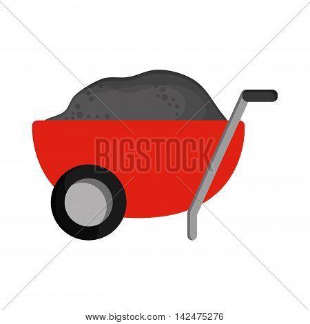 flat design filled wheelbarrow icon vector illustration